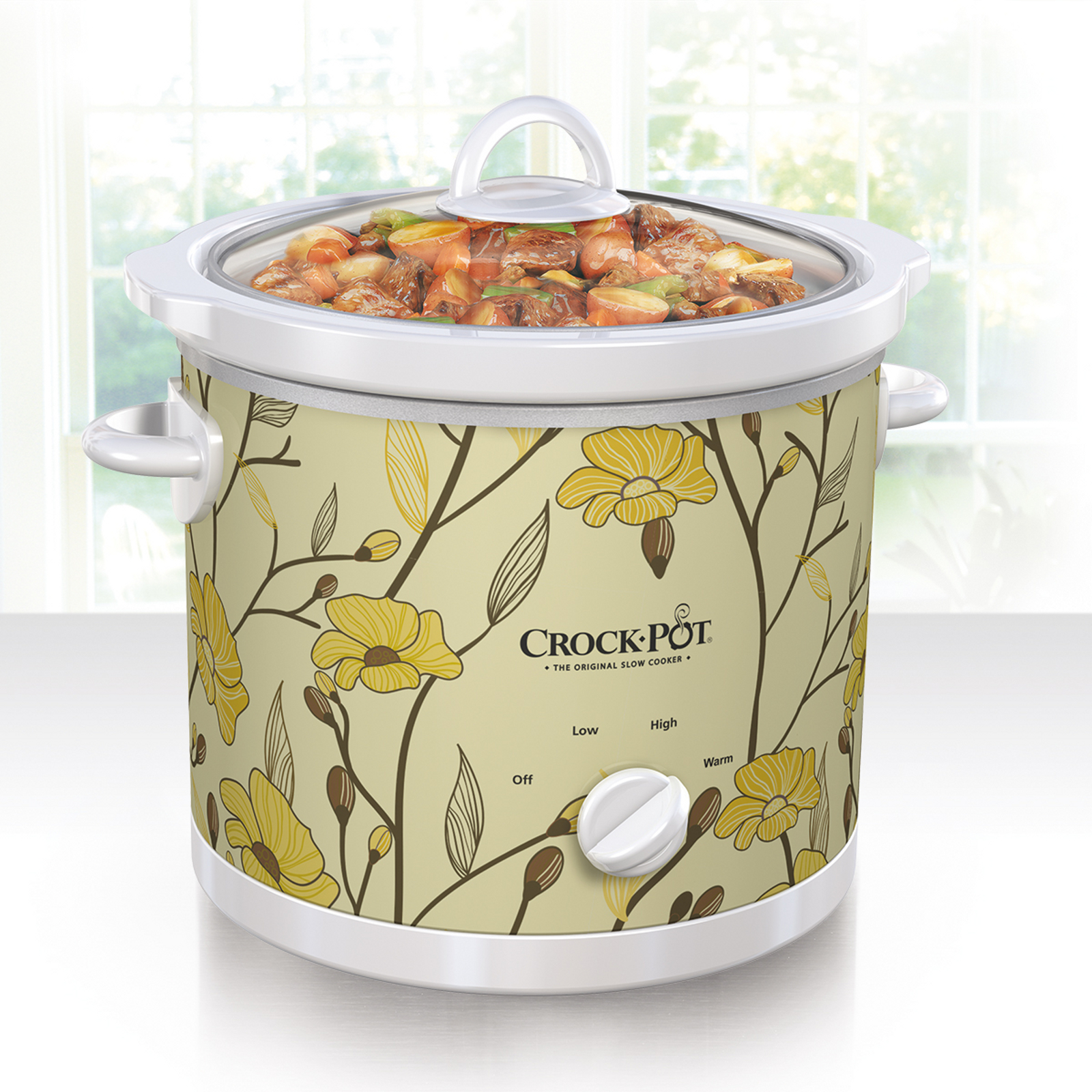 Crock Pot 3 Qt Manual Slow Cooker, Yellow Flower