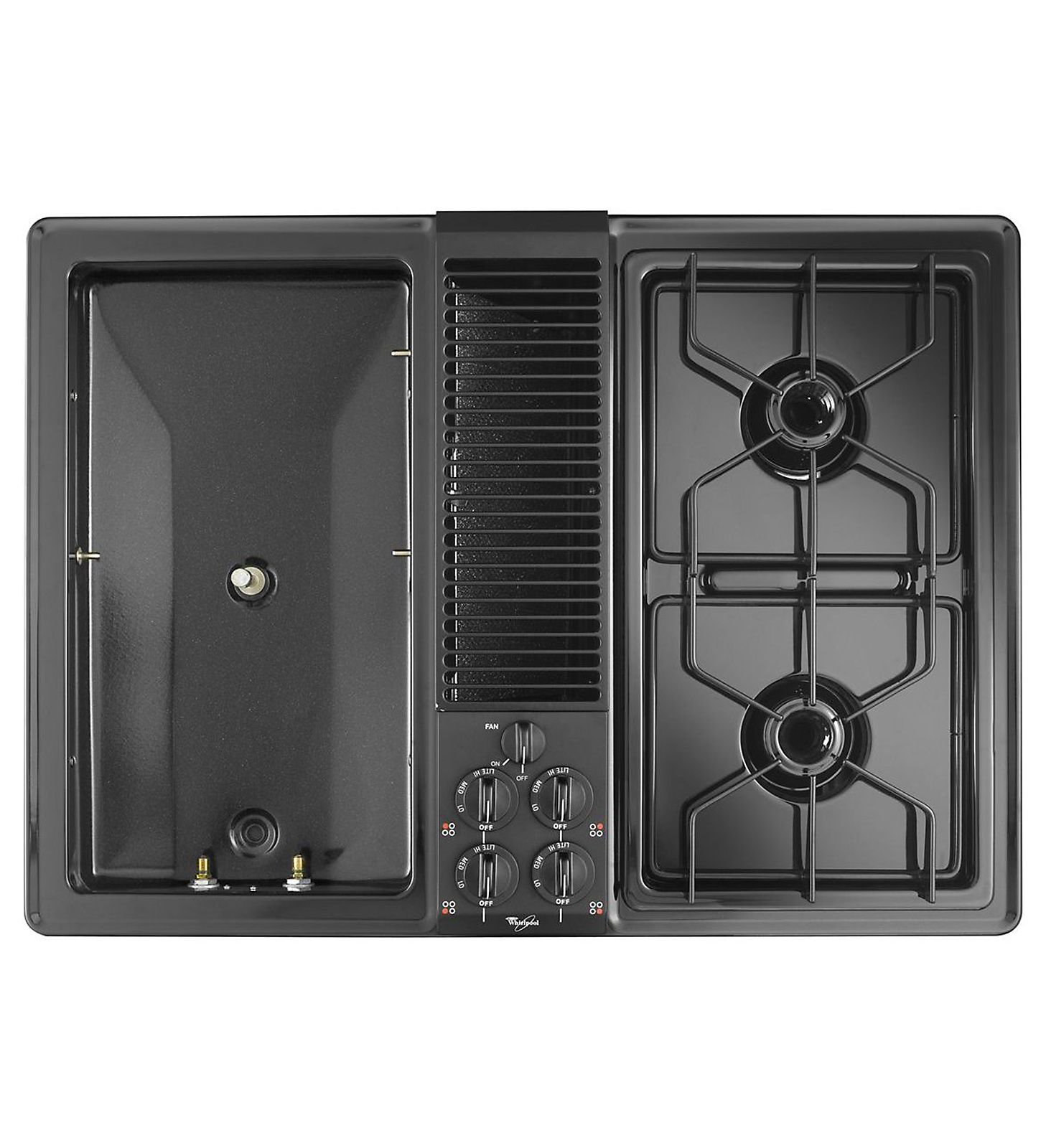 "Whirlpool 30"" Gas Modular Downdraft Cooktop w/ 2-Burner Module and 2nd Bay"
