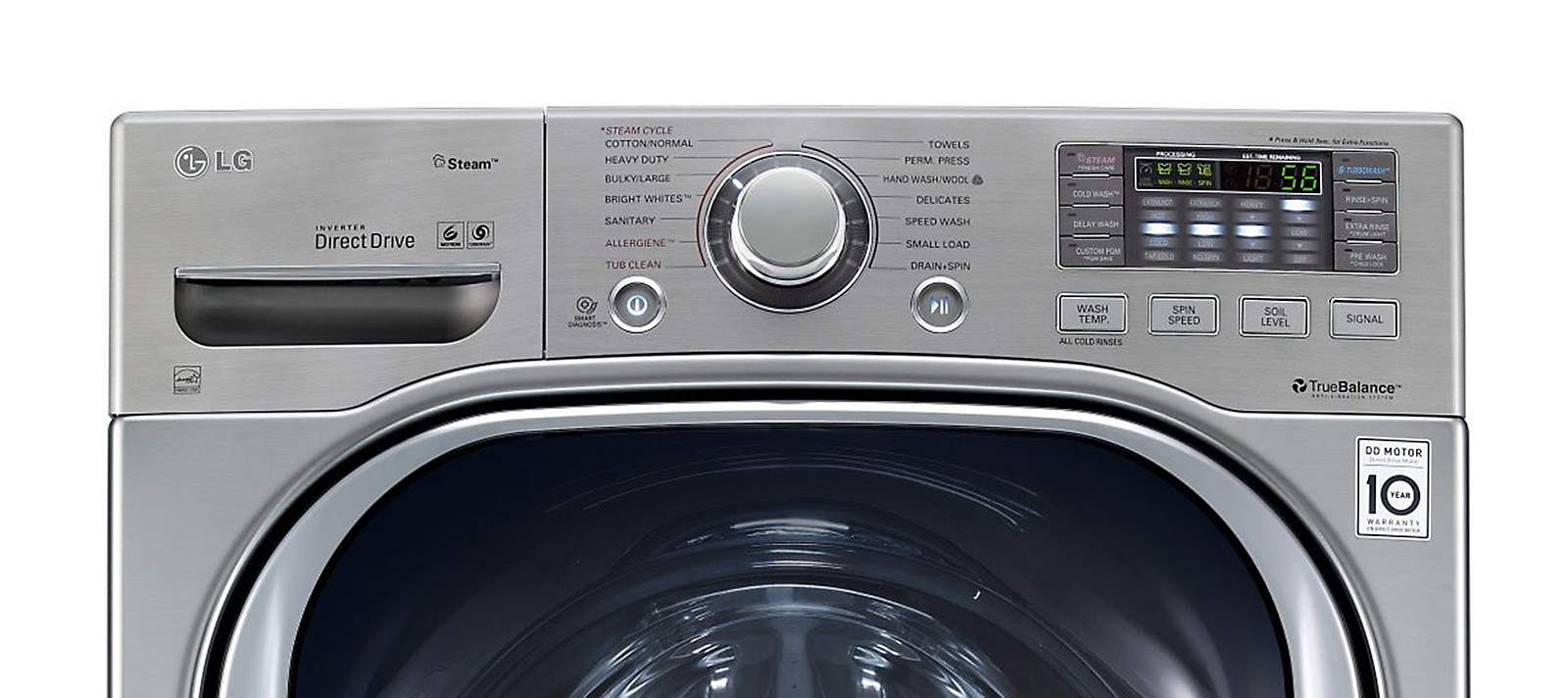 LG 4.3 cu. ft. Steam Front-Load Washer w/TurboWash™ - Metallic