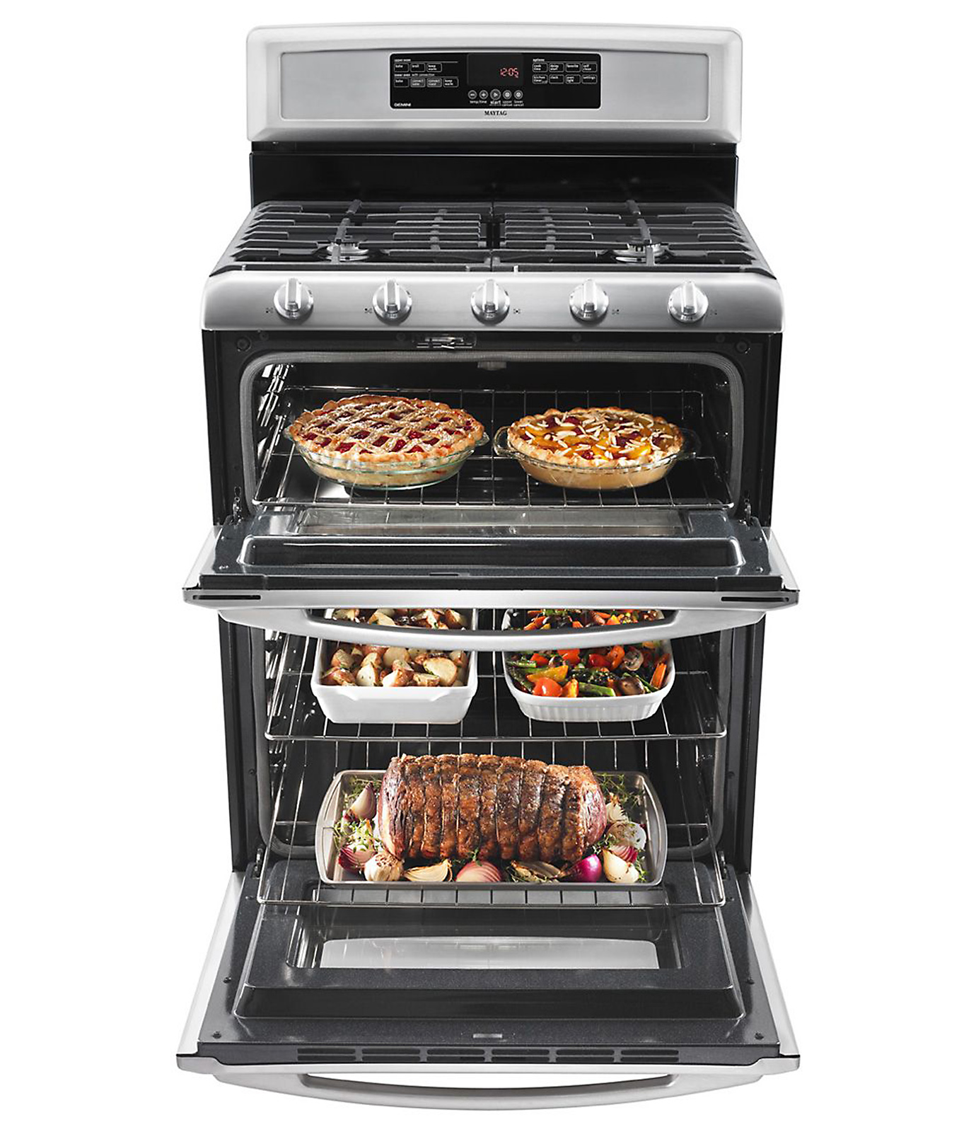 Maytag 6 cu. ft. Double-Oven Gas Range - Stainless Steel