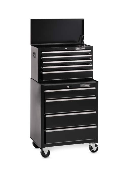 Craftsman 26 In. 9-Drawer 2-PC Standard Duty Ball-Bearing Combo - Black