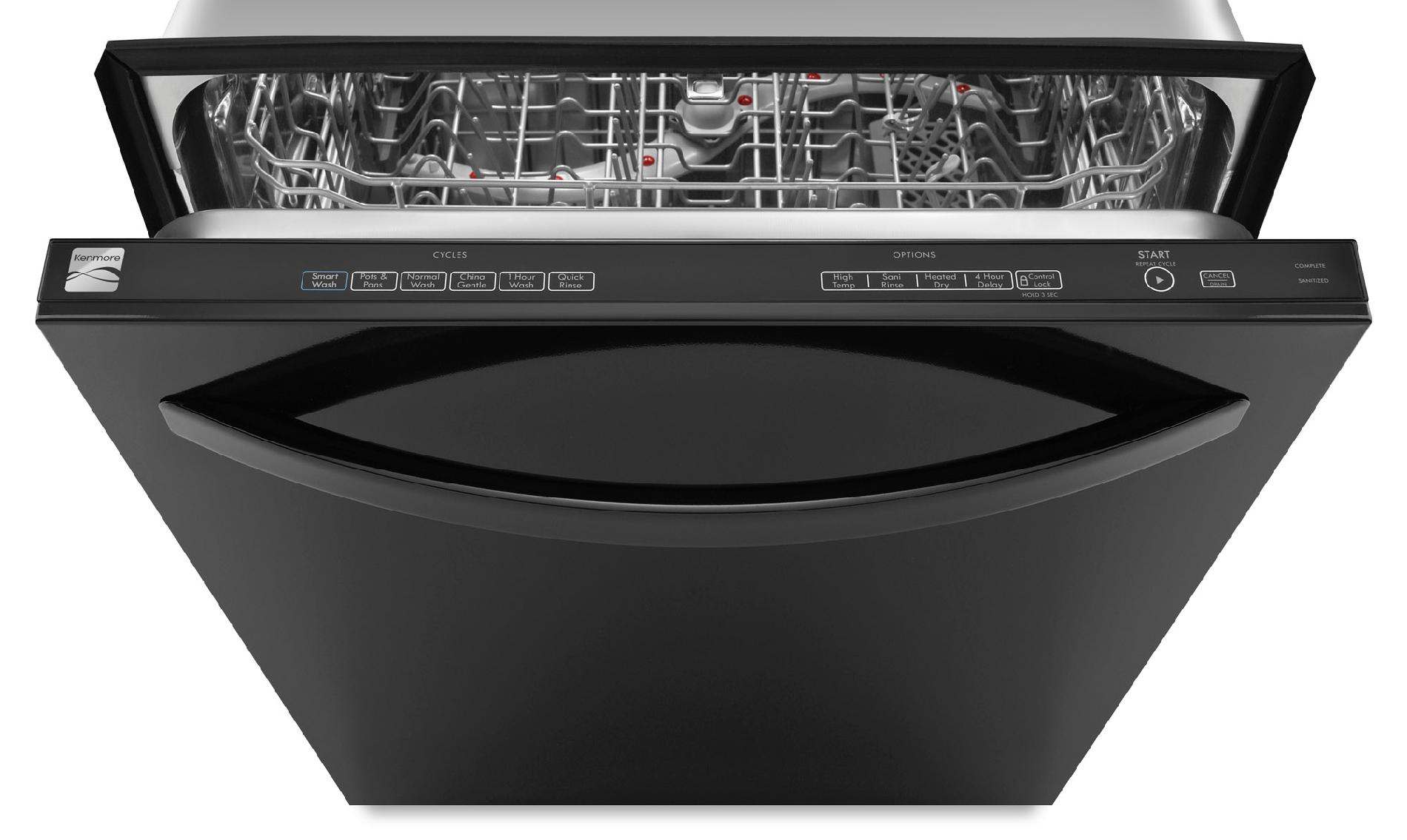 "Kenmore 24"" Built-In Dishwasher w/ Stainless Steel Tub - Black"