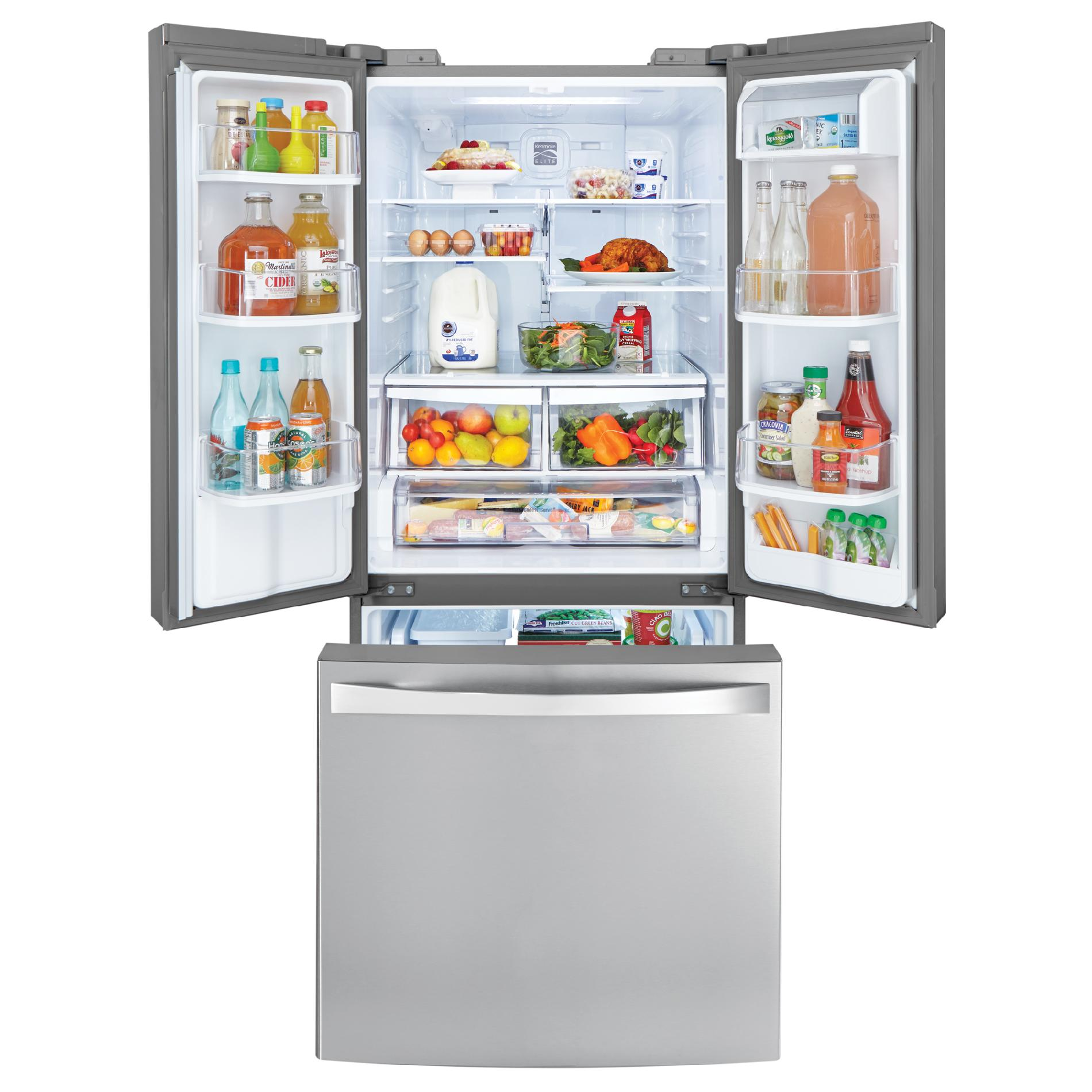 Kenmore Elite 71323 21.8 cu. ft. French Door Bottom-Freezer Refrigerator—Stainless Steel