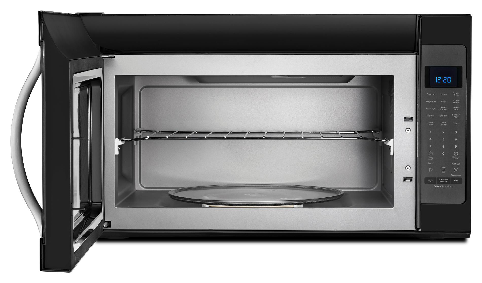 Whirlpool 2.0 cu. ft. Over-the-Range Microwave w/ CleanRelease® Non-Stick Interior - Black w/Silver Handle
