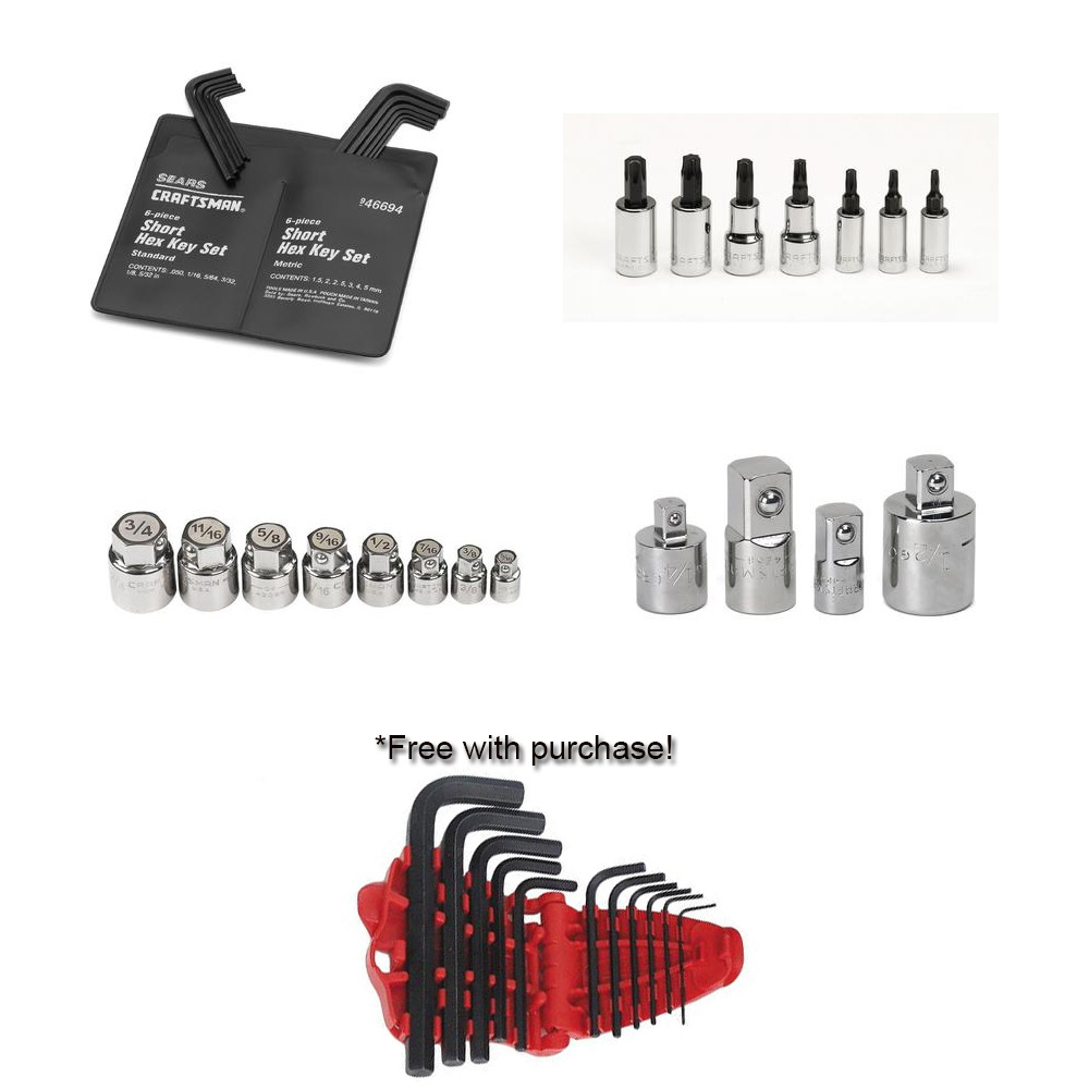 42 pc Tool Assortment with FREE 11 pc. Standard Short Arm Hex Key Set
