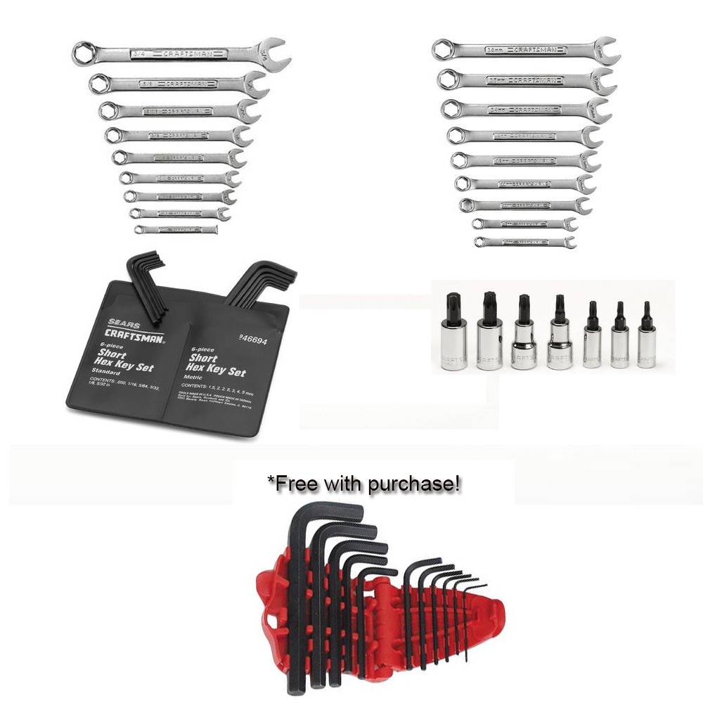 48 pc Tool Assortment with FREE 11 pc. Standard Short Arm Hex Key Set