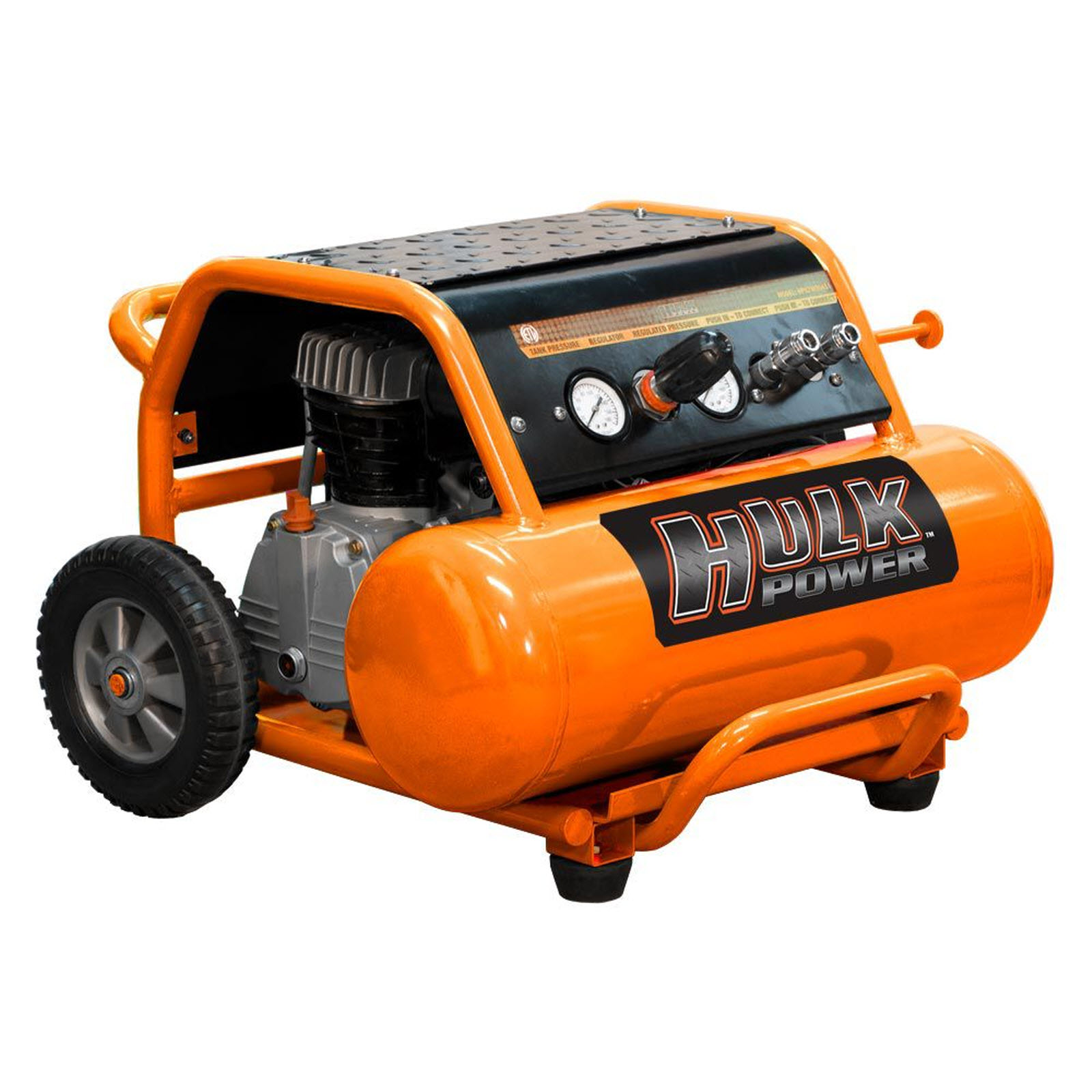 HULK Power 2 HP 4 Gallon Oil Lube Side Stack Portable Compressor- HP02W004S1