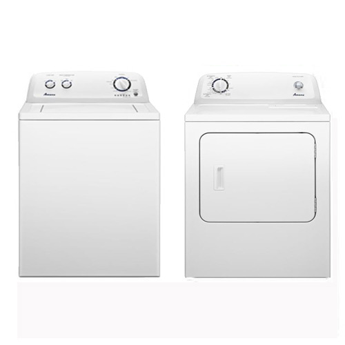 3.4 cu. ft. White Top Load Washer & 6.5 cu. ft. White Dryer