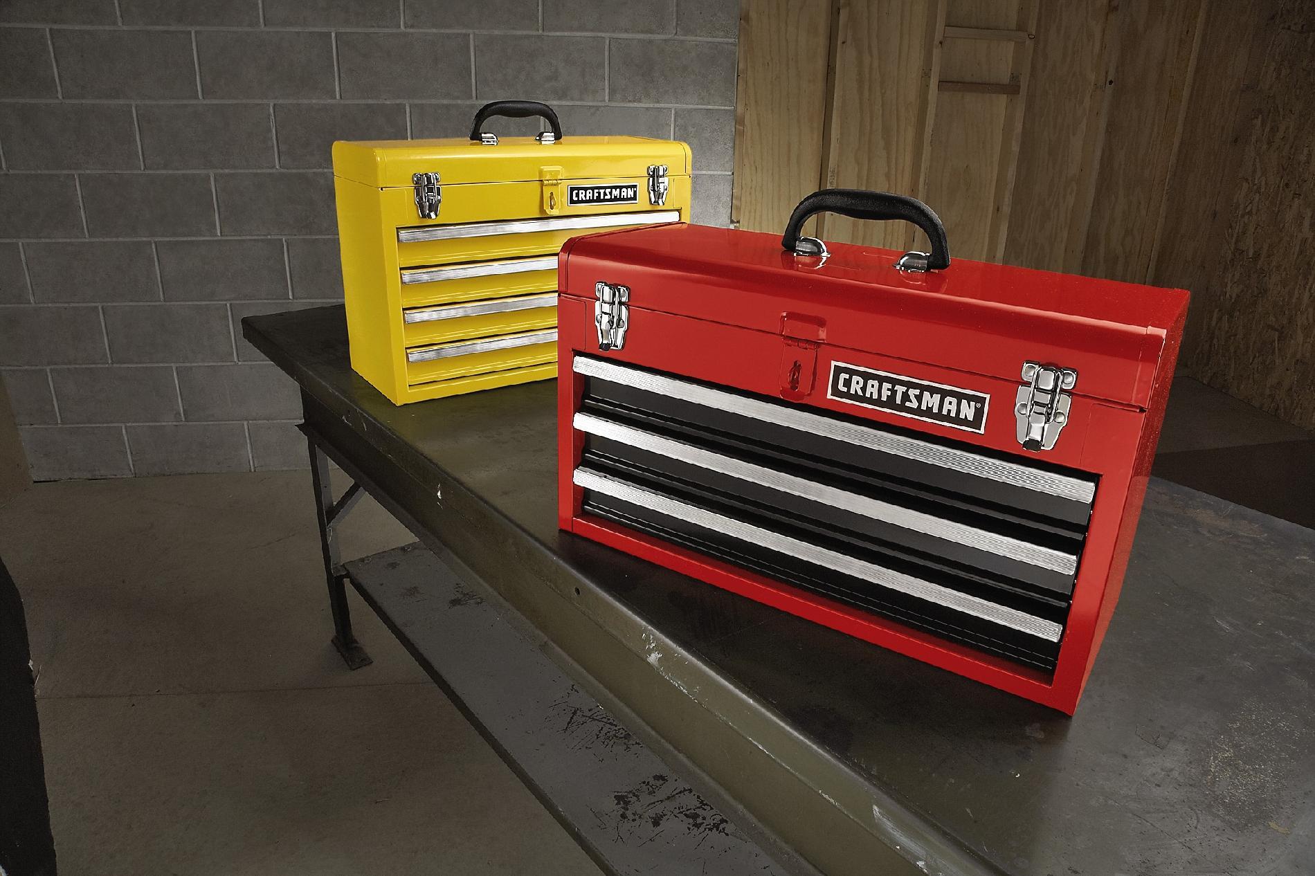Craftsman 3-Drawer Metal Portable Chest-Red/Black