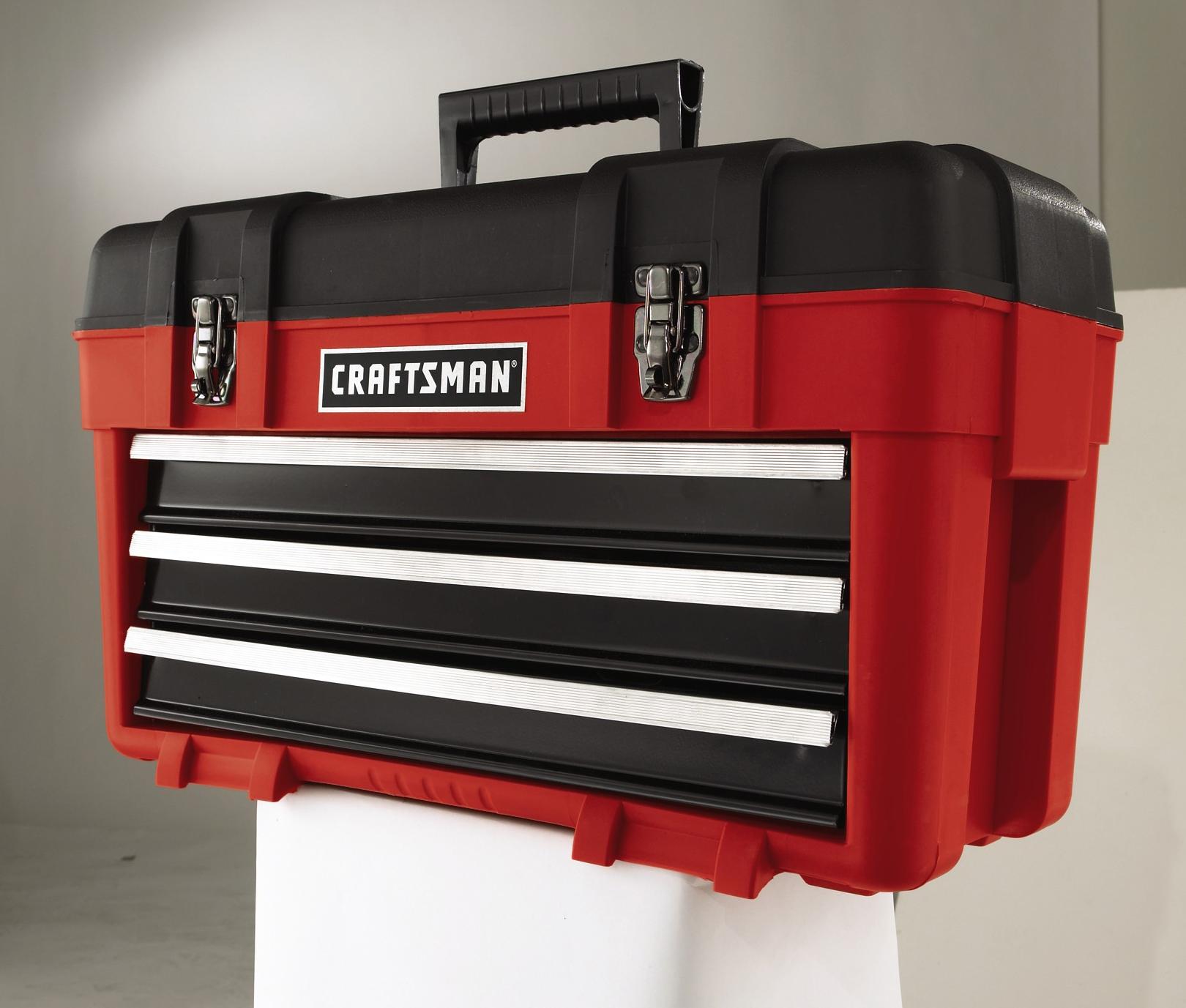 Craftsman 3-Drawer Plastic/Metal Portable Chest - Red/Black