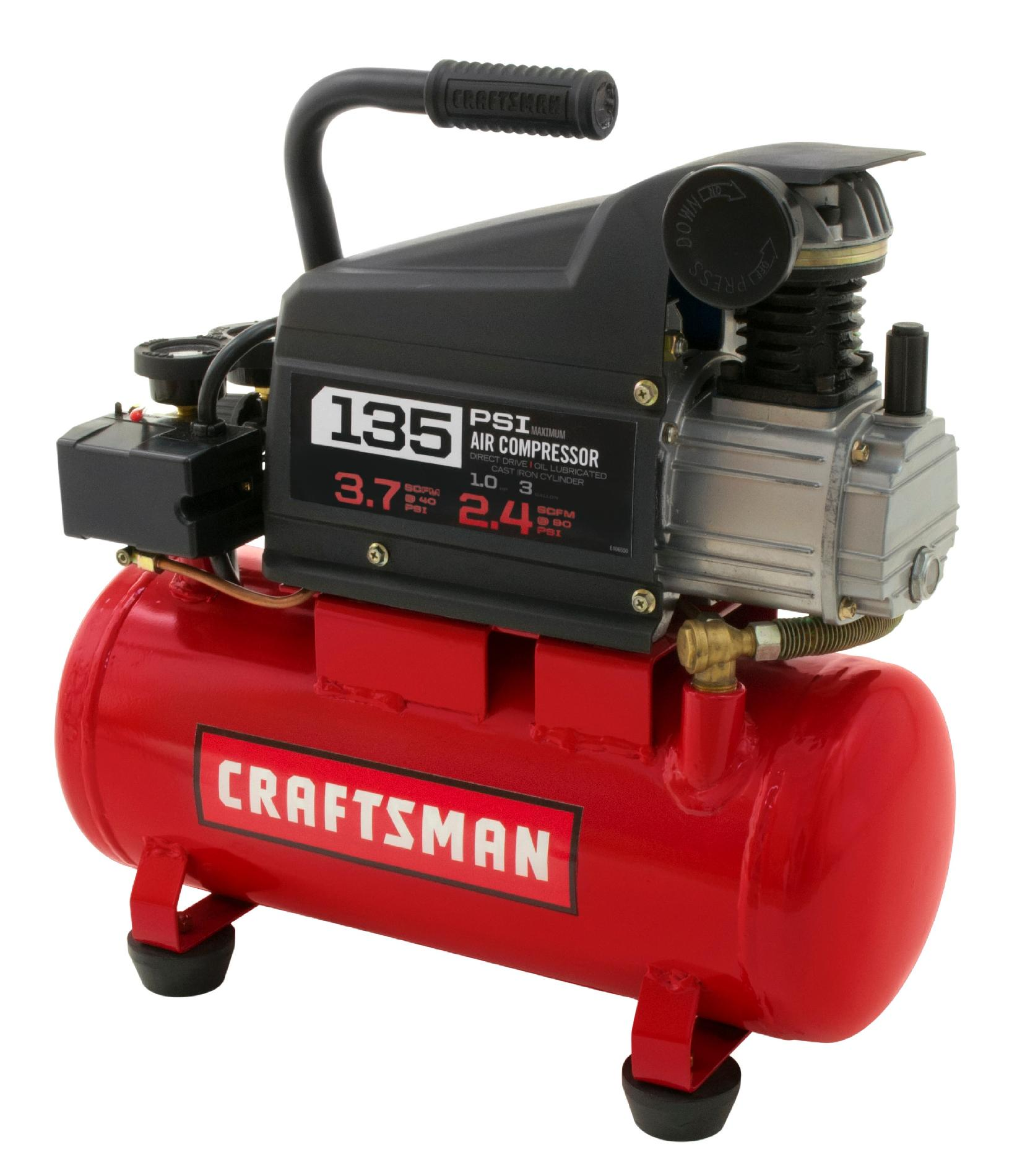 Craftsman 3 Gallon 1.0 HP Oil-Lubricated Air Compressor & Accessory Kit  135 Max PSI