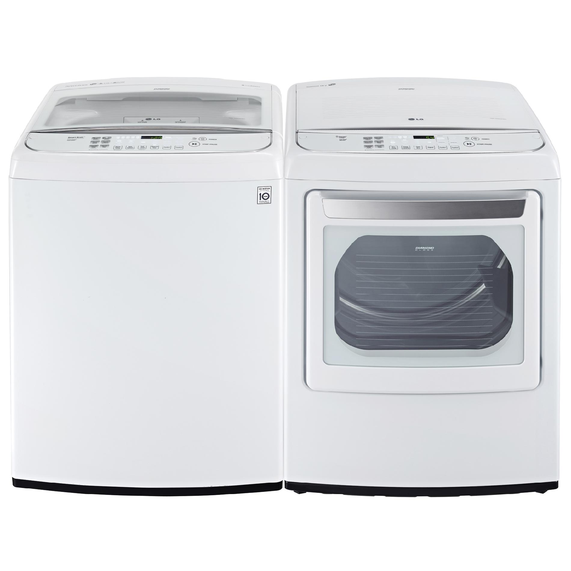 LG 7.3 cu. ft. Steam Electric Dryer w/ Front Controls - White