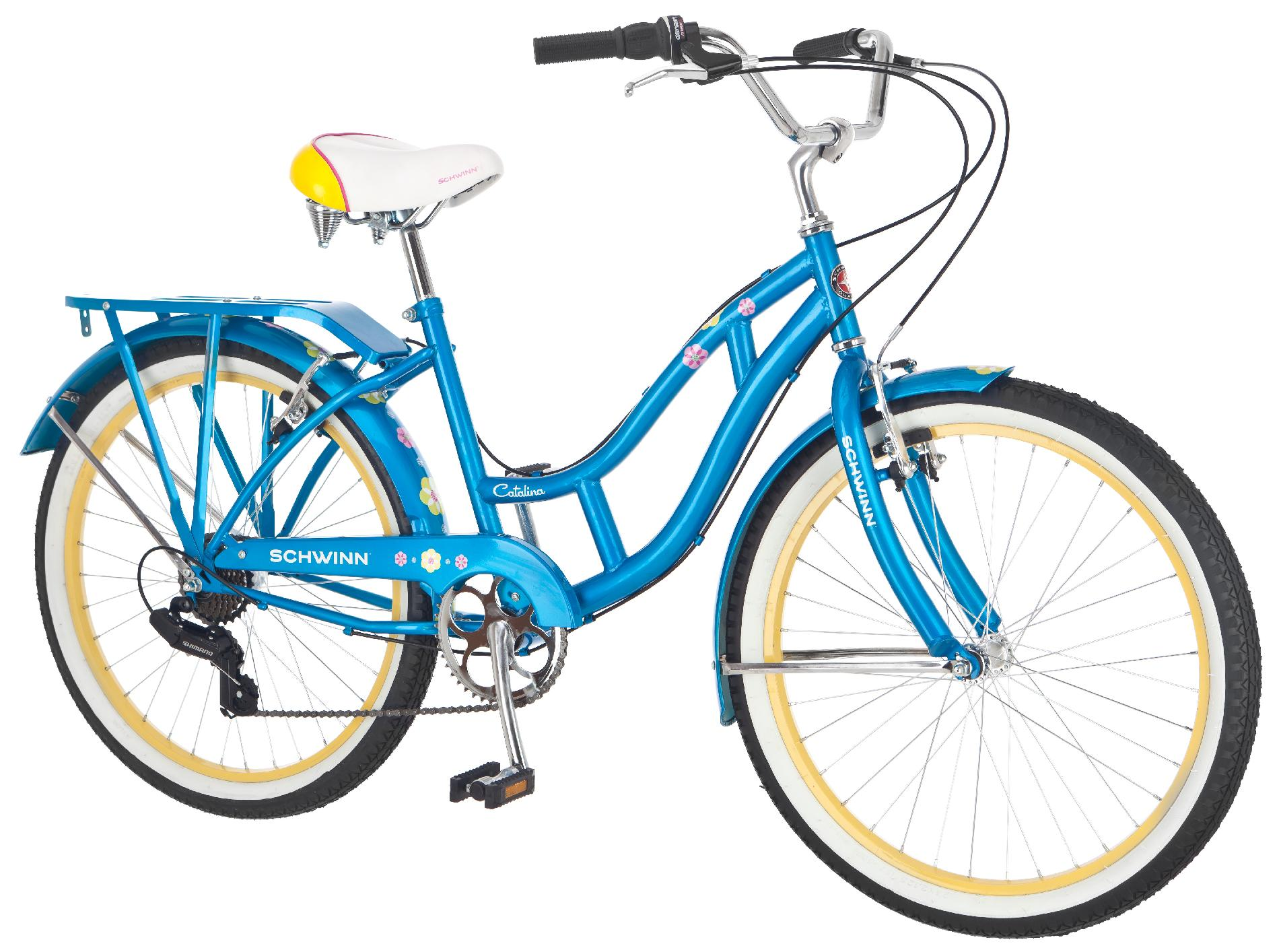 "Schwinn 24"" Girls' Catalina Cruiser Bike with 7 Gears and Cool Retro Details"