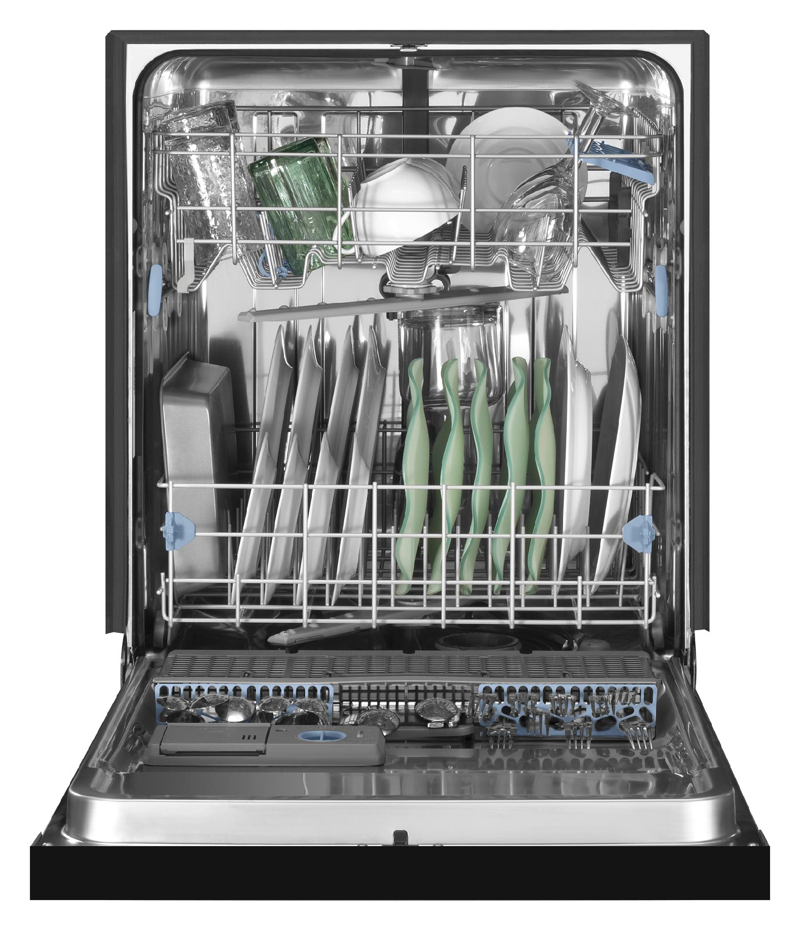 """Whirlpool 24"""" Built-In Dishwasher w/ Stainless-Steel Tub - Black"""