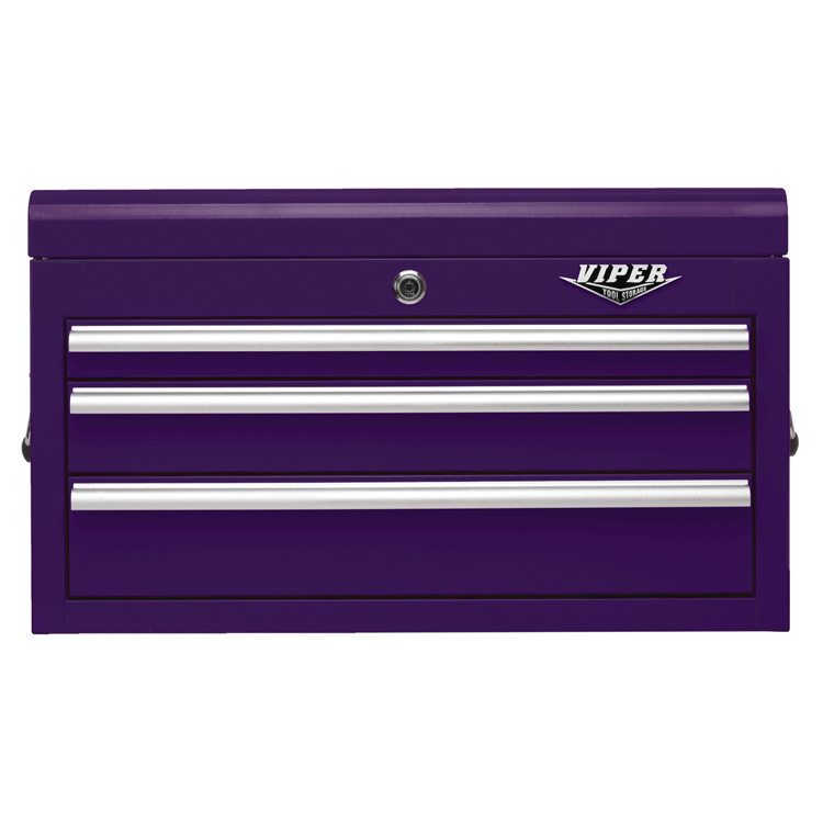 Viper Tool Storage 26-inch 3 Drawer 18G Steel Top Chest, Purple