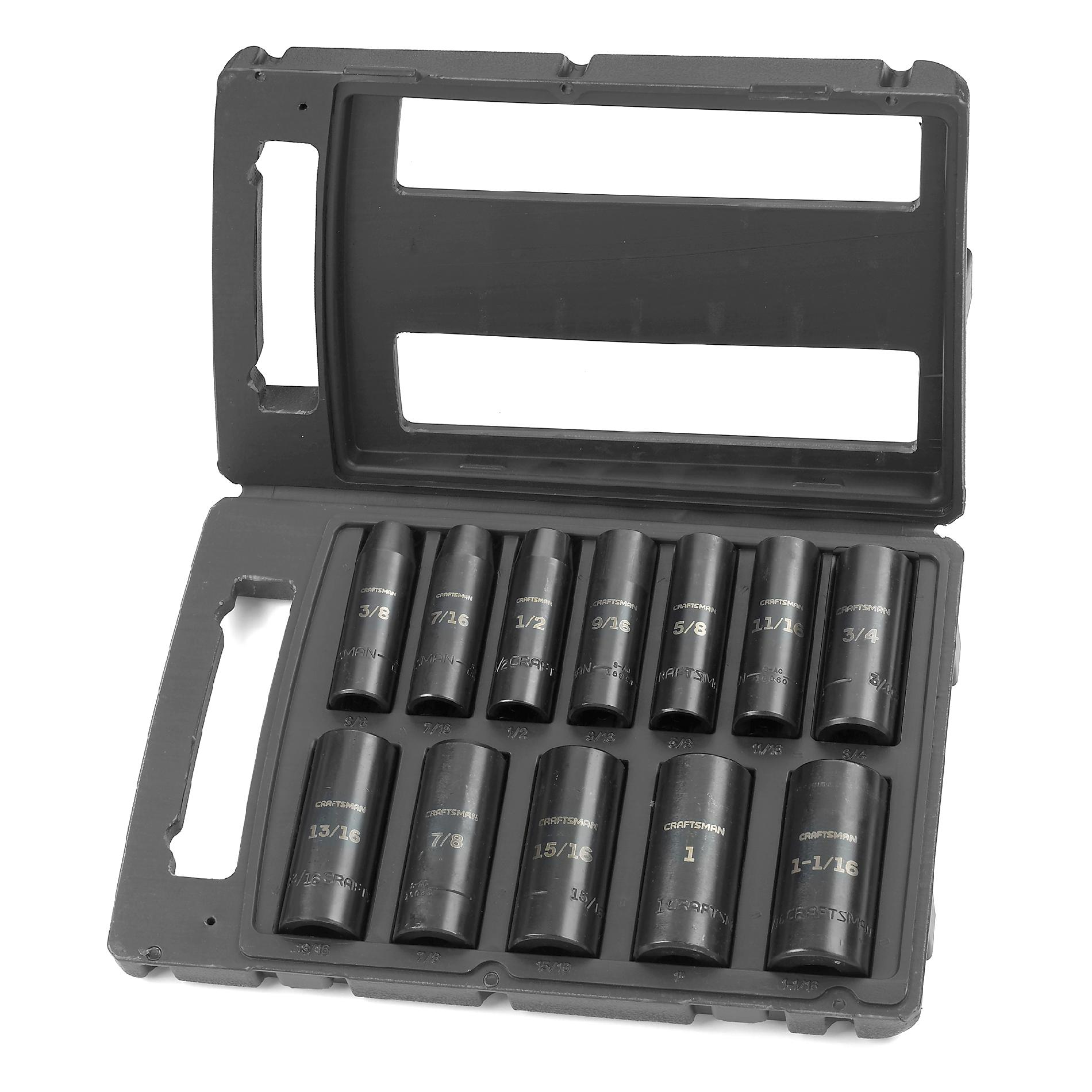 Craftsman 12 pc. Standard Easy to Read Impact Socket Set, 6 pt. Deep, 1/2 in. Drive