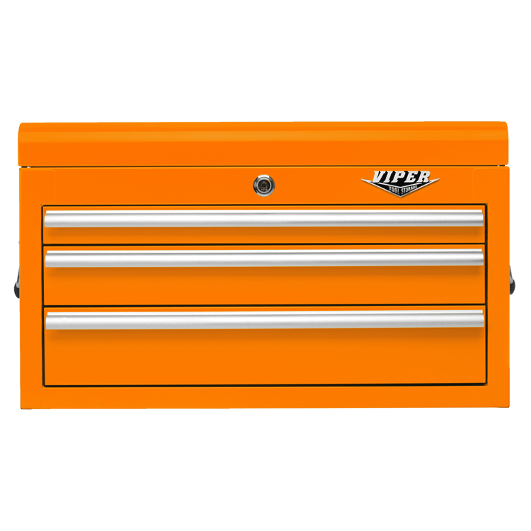 "Viper Tool Storage 26"" 3 Drawer 18G Steel Top Chest, Orange"