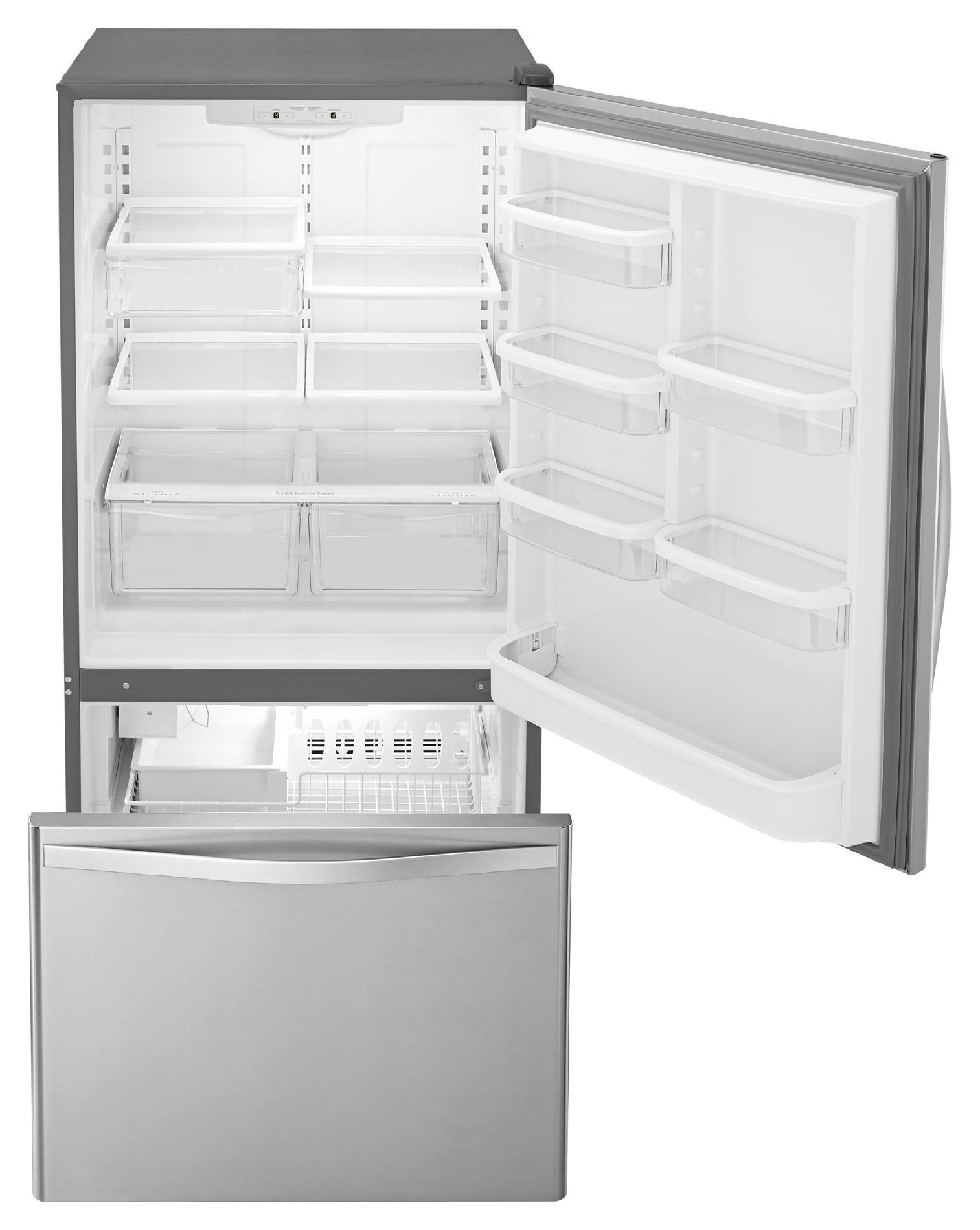 Whirlpool WRB322DMBM 22.1 cu. ft. Bottom-Freezer Refrigerator w/ Ice Maker - Stainless Steel