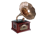 Pyle Classical Trumpet Horn Turntable/Phonograph with AM/FM Radio CD/Cassette/USB & Direct to USB Recording