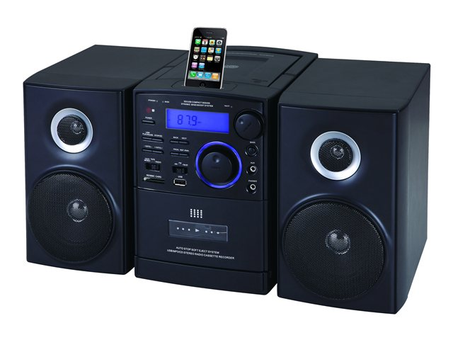 Supersonic MP3/CD Player with iPod Docking, USB/SD/AUX Inputs, Cassette Recorder & AM/FM Radio