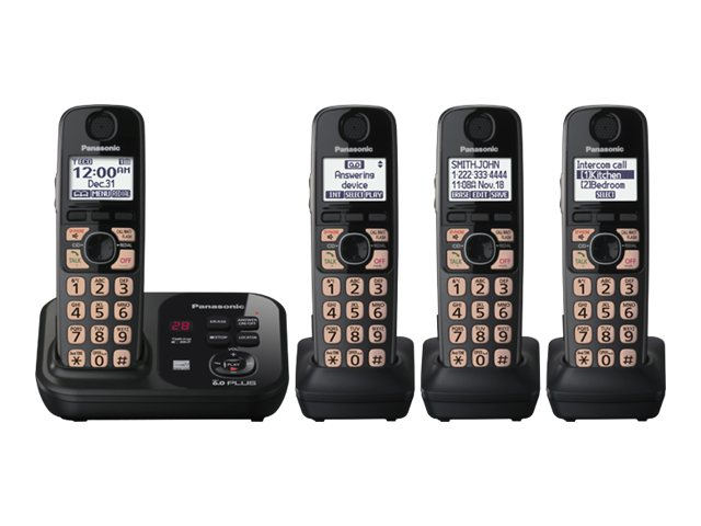Panasonic Expandable Digital Cordless Answering System w/ 4 Handsets KX-TG4734B