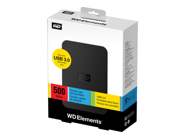 Western Digital 500GB WD Elements USB 3.0 Portable External Hard Drive - Refurbished
