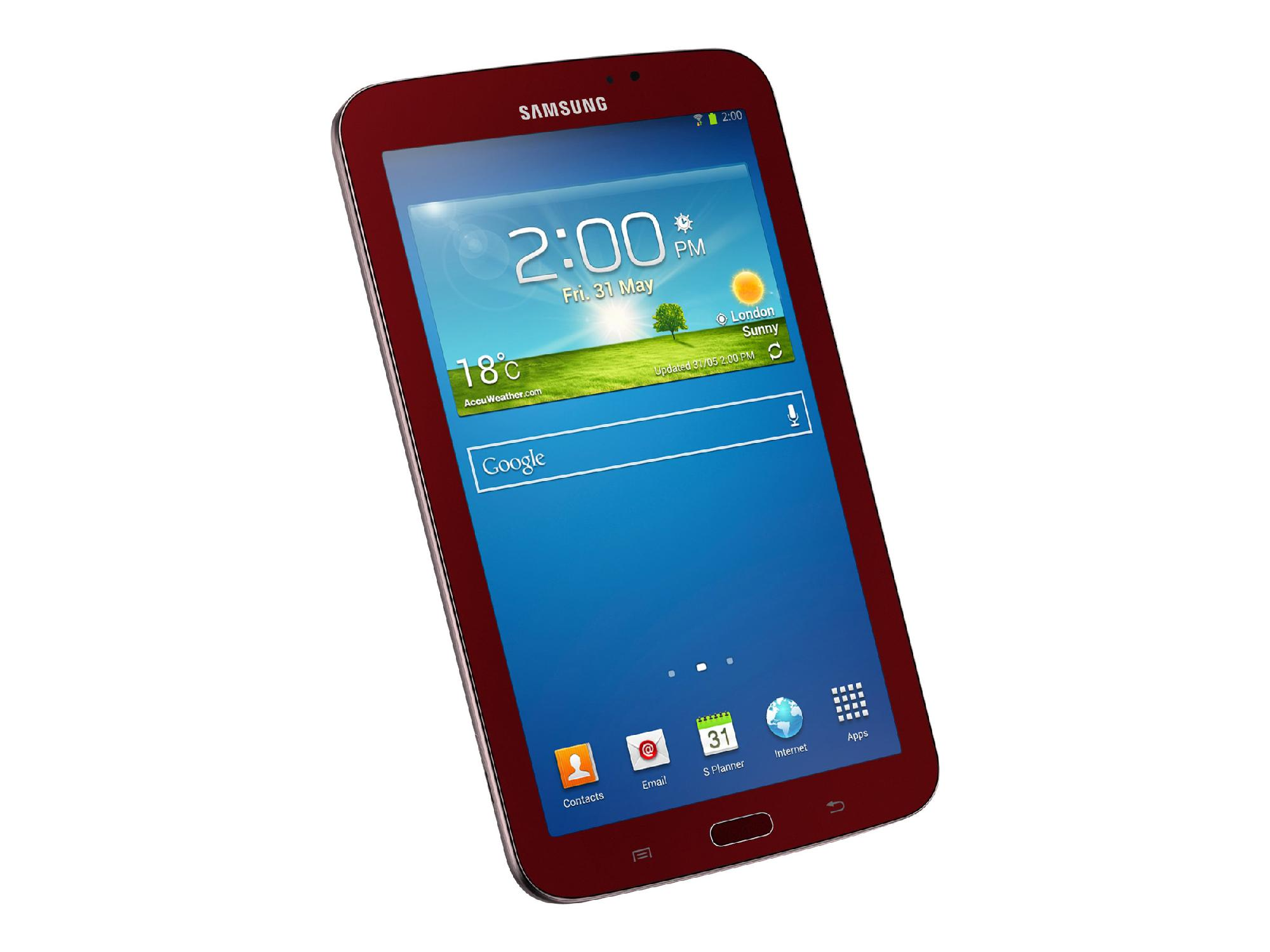 Samsung 7 in. Galaxy Tab® 3 - 8GB, SM-T210RGRSXAR (Book Cover Bundle) Garnet Red