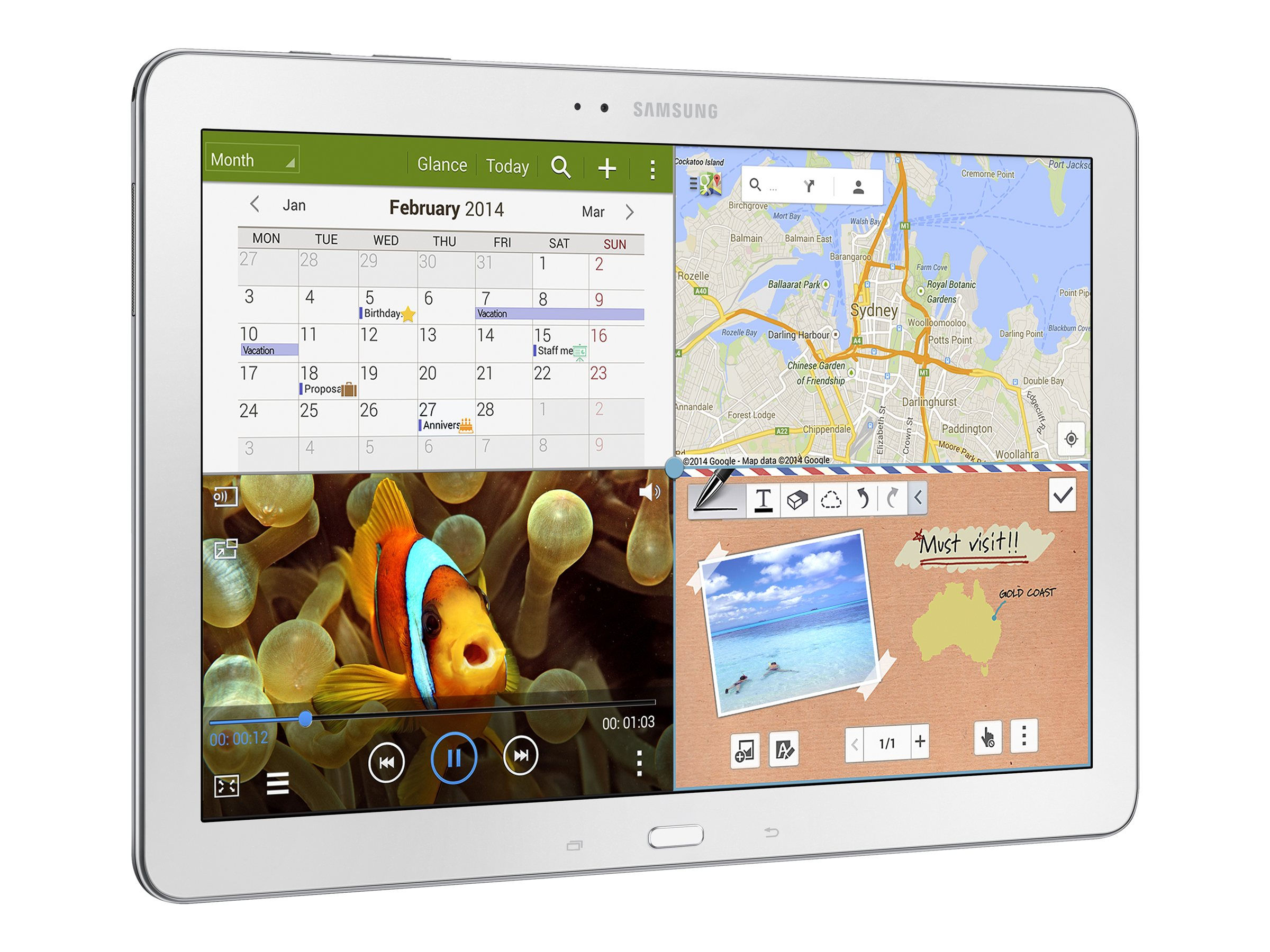 Samsung 12.2 in. Galaxy Tab Pro - 32GB, SM-T9000ZWAXAR White