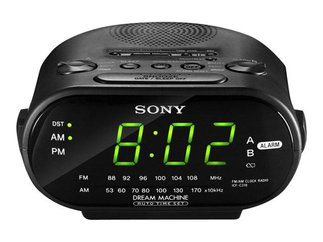 Sony Clock Radio with AM/FM Analog Tuner